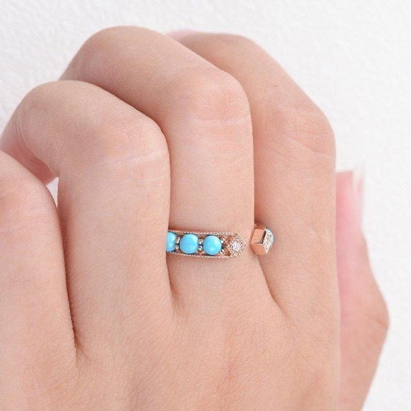 Blue Turquoise Ancient Egyptian Band - Finger
