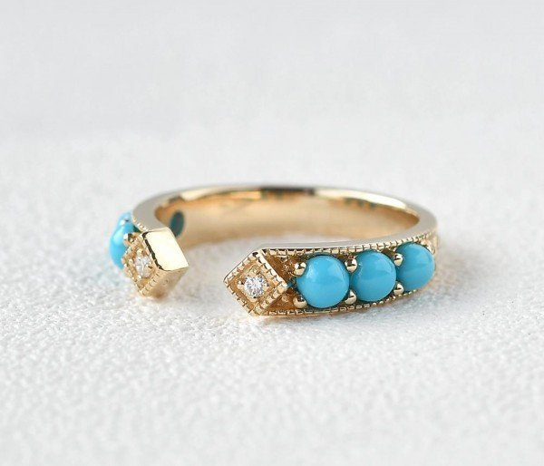 Blue Turquoise Ancient Egyptian Band - Side