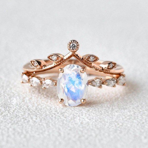 Oval Blue Moonstone Vintage Leaf Ring - Front