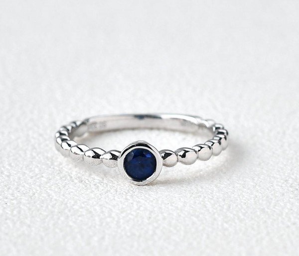 Round Blue Sapphire Bead Gold Ring - Front