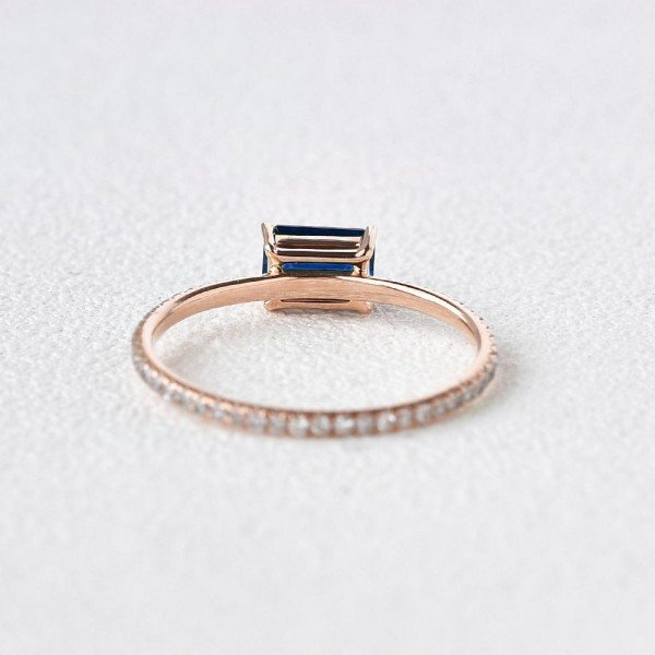 Emerald Cut Blue Lab Sapphire Eternity Ring - Back