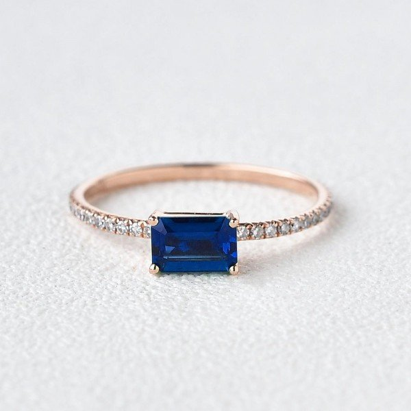 Emerald Cut Blue Lab Sapphire Eternity Ring - Front