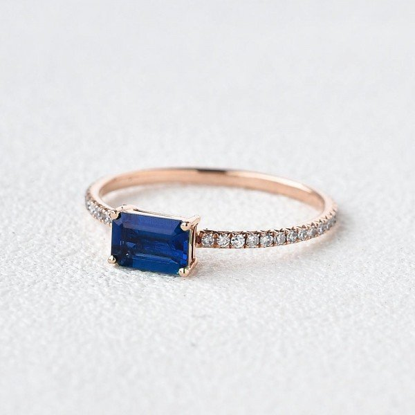 Emerald Cut Blue Lab Sapphire Eternity Ring - Side