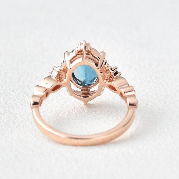 Oval Shaped Blue Topaz Antique Art Deco Ring - Rose - Back