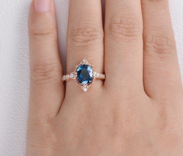 Oval Shaped Blue Topaz Antique Art Deco Ring - Rose - Finger
