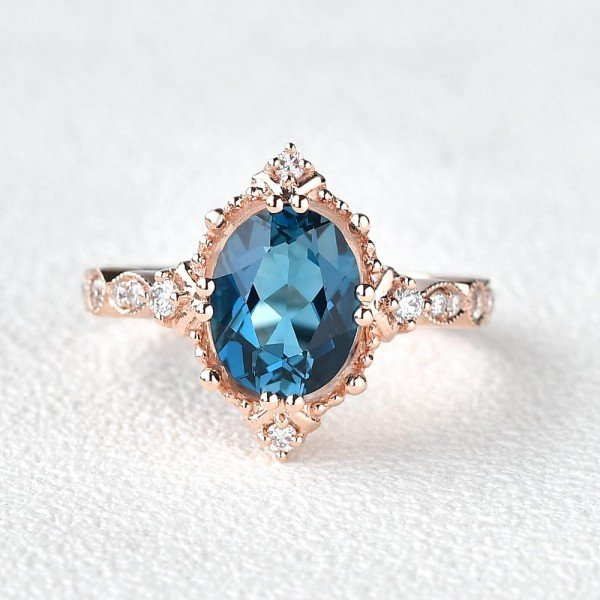 Oval Shaped Blue Topaz Antique Art Deco Ring - Rose - Front