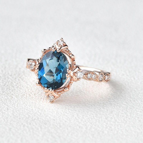 Oval Shaped Blue Topaz Antique Art Deco Ring - Rose - Side