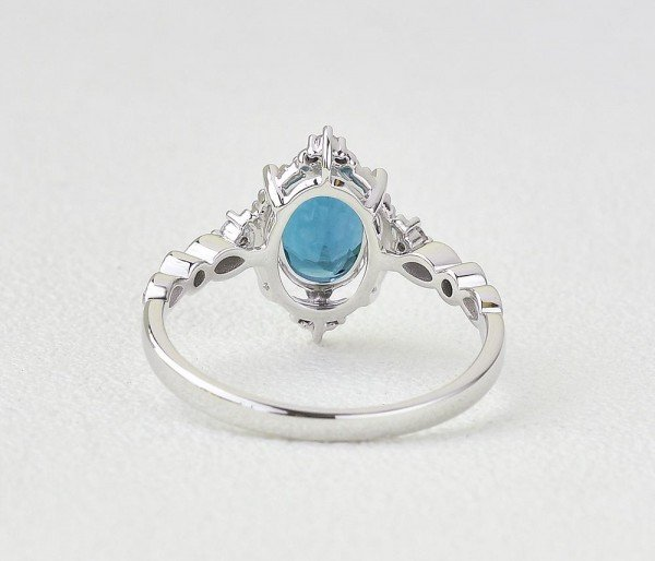 Oval Shaped Blue Topaz Antique Art Deco Ring - White - Back
