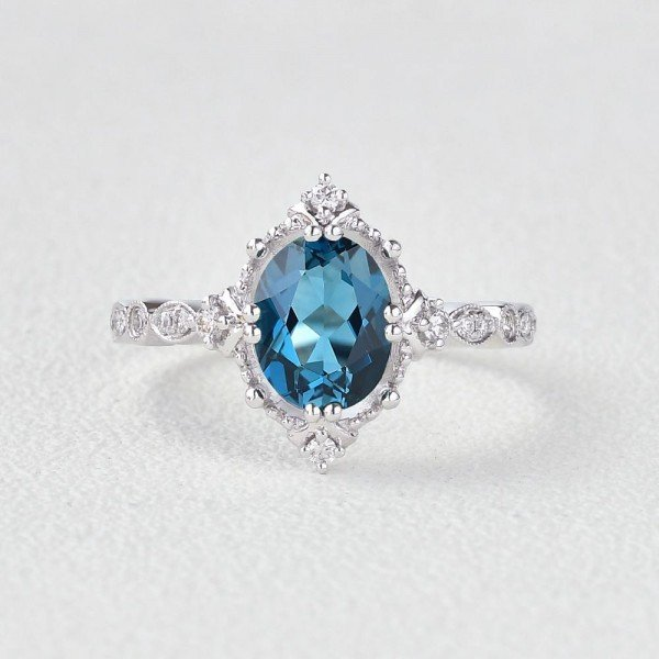 Oval Shaped Blue Topaz Antique Art Deco Ring - White - Front