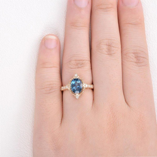 Oval Shaped Blue Topaz Antique Art Deco Ring - Yellow - Finger