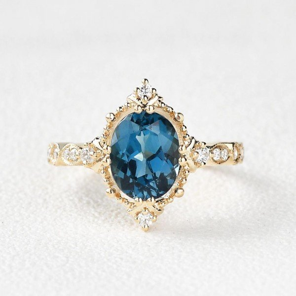 Oval Shaped Blue Topaz Antique Art Deco Ring - Yellow - Front