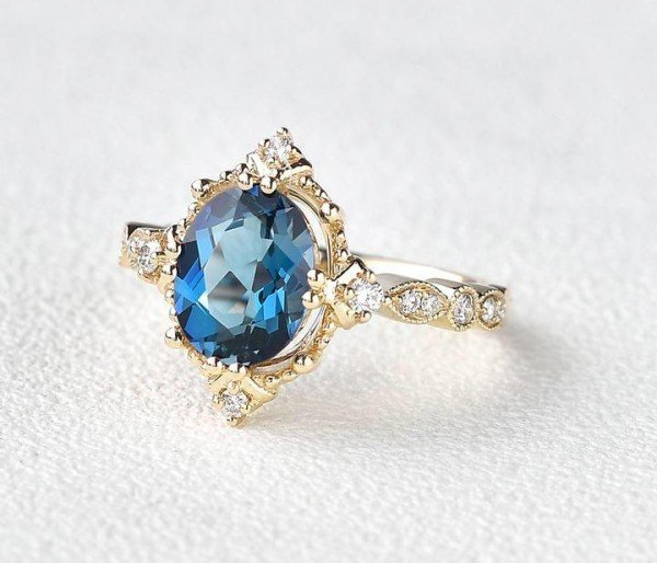 Oval Shaped Blue Topaz Antique Art Deco Ring - Yellow - Side