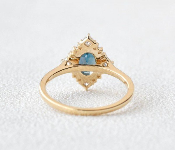 Oval Blue Topaz Vintage Halo Ring - Back