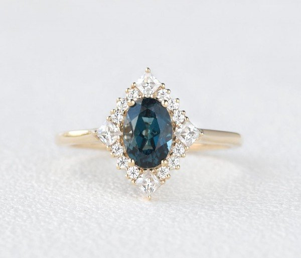 Oval Blue Topaz Vintage Halo Ring - Front