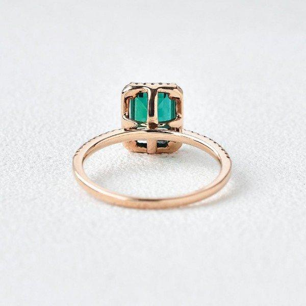 Emerald Cut Green Emerald Vintage Halo Ring - Back