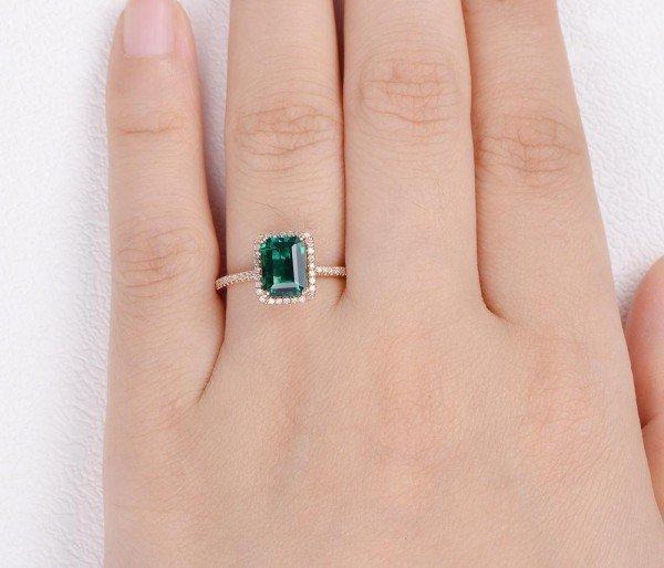 Emerald Cut Green Emerald Vintage Halo Ring - Finger