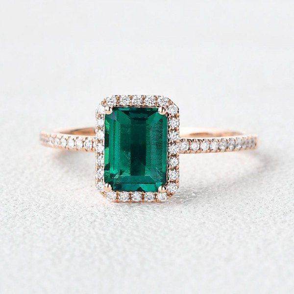 Emerald Cut Green Emerald Vintage Halo Ring - Front