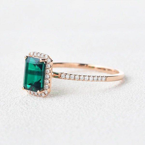 Emerald Cut Green Emerald Vintage Halo Ring - Side