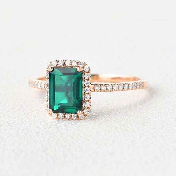Emerald Cut Green Emerald Vintage Halo Ring - Side - Angle