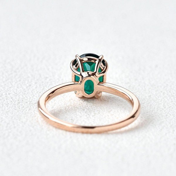 Oval Green Emerald Cuddle Ring - Rose - Back