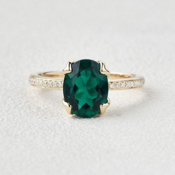 Oval Green Emerald Cuddle Ring - Yellow - Front