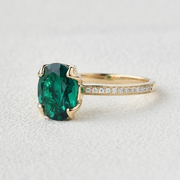 Oval Green Emerald Cuddle Ring - Yellow - Side