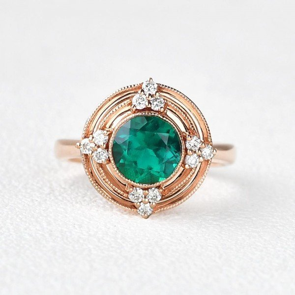 Round Green Emerald Antique Beaded Ring - Front