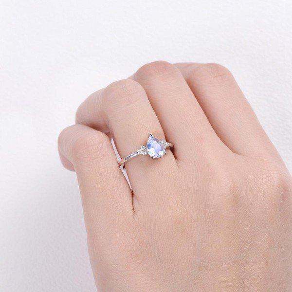 Pear Shaped Moonstone Moissanite Cluster Ring - Finger