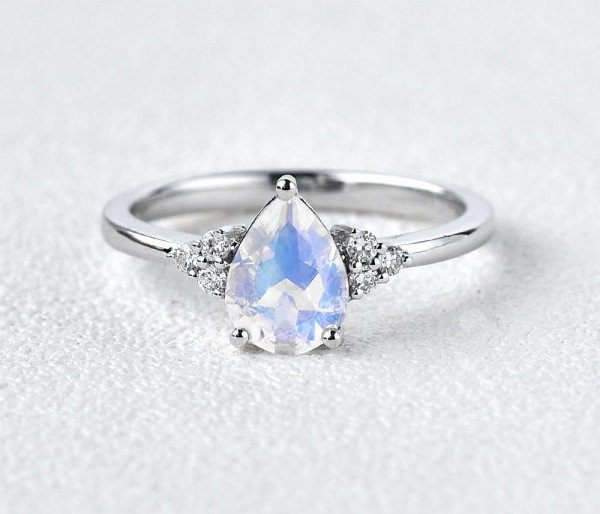 Pear Shaped Moonstone Moissanite Cluster Ring - Front
