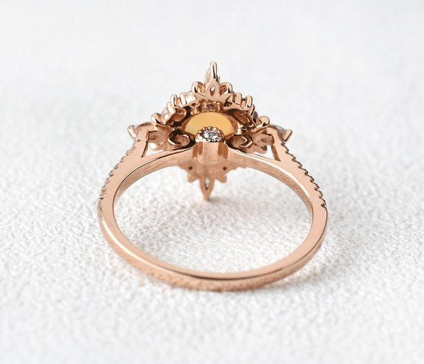 Round Opal Antique Cathedral Ring - Rose - Back