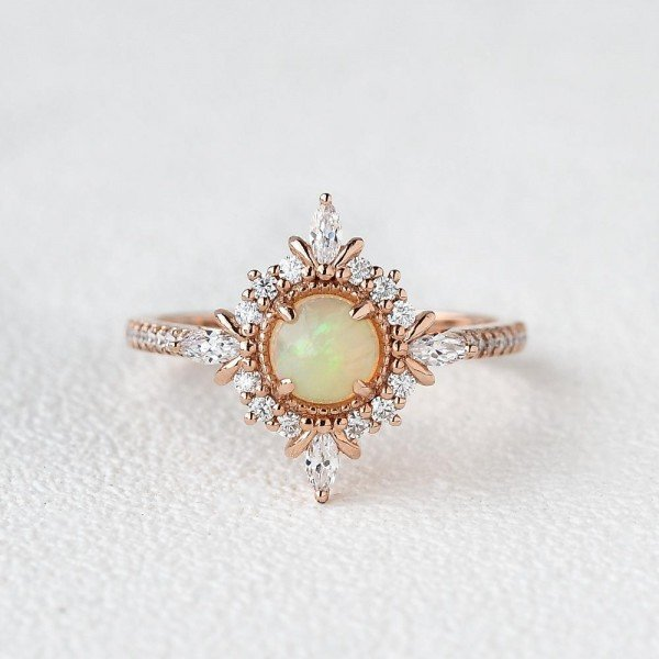 Round Opal Antique Cathedral Ring - Rose - Front