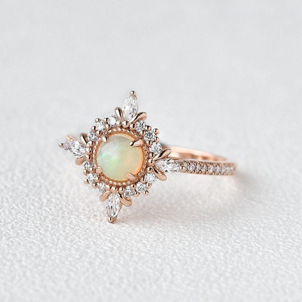 Round Opal Antique Cathedral Ring - Rose - Side