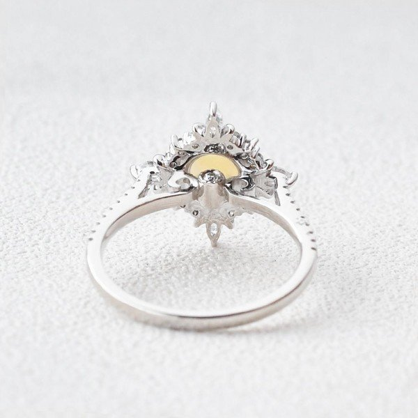 Round Opal Antique Cathedral Ring - White - Back