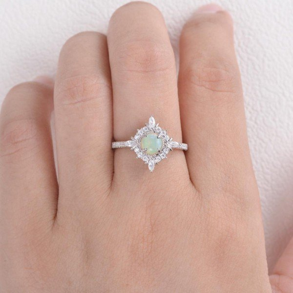 Round Opal Antique Cathedral Ring - White - Finger