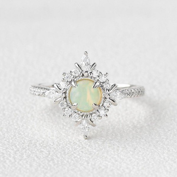 Round Opal Antique Cathedral Ring - White - Front