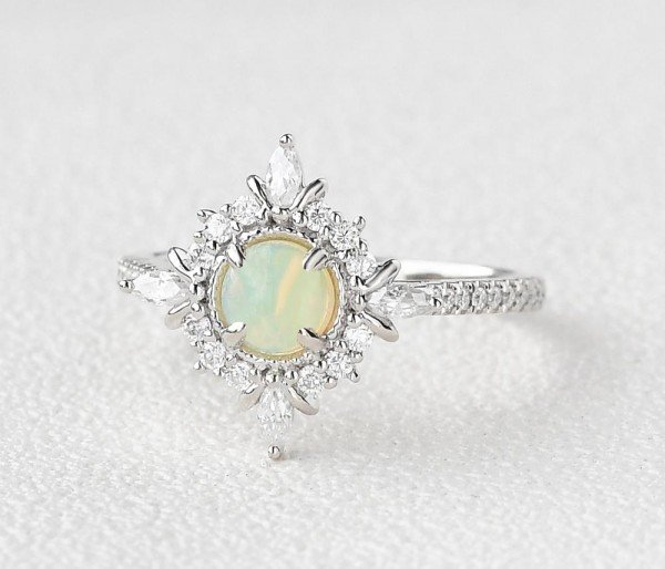 Round Opal Antique Cathedral Ring - White - Side