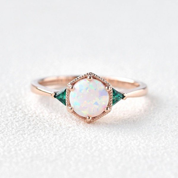 Round Opal Vintage Beaded Ring - Front