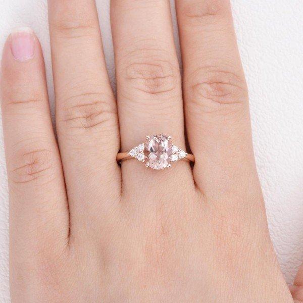 Oval Pink Morganite Moissanite Cluster Ring - Finger