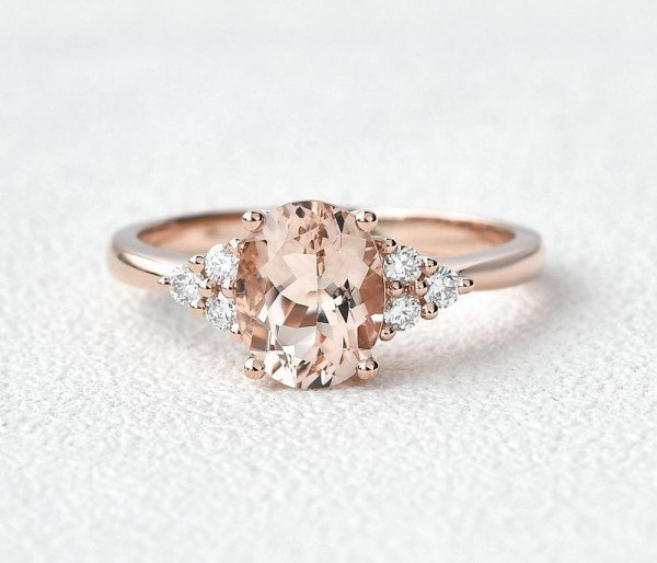Oval Pink Morganite Moissanite Cluster Ring - Front