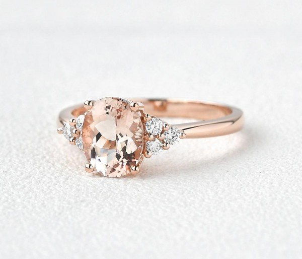 Oval Pink Morganite Moissanite Cluster Ring - Side