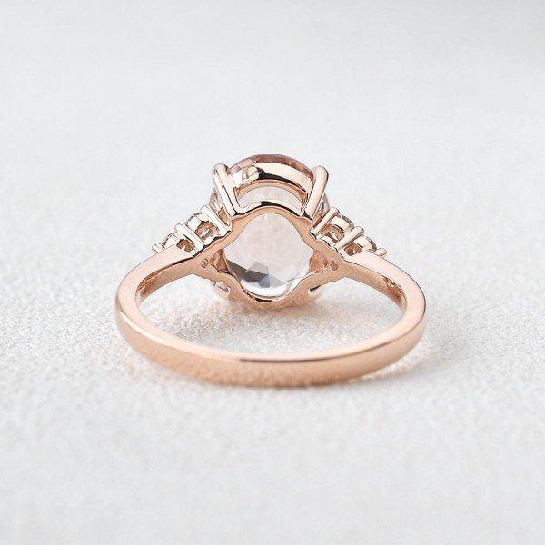 Oval Pink Morganite Moissanite Cluster Ring - Back