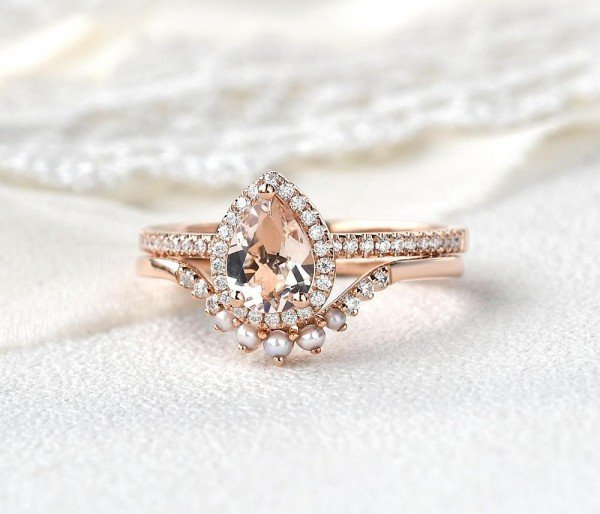 Pear Pink Morganite Halo Ring Set - Front