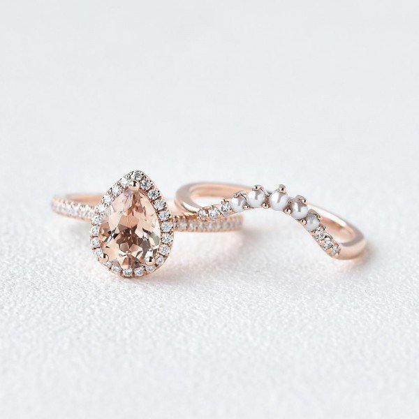 Pear Pink Morganite Halo Ring Set - Front - Seperated