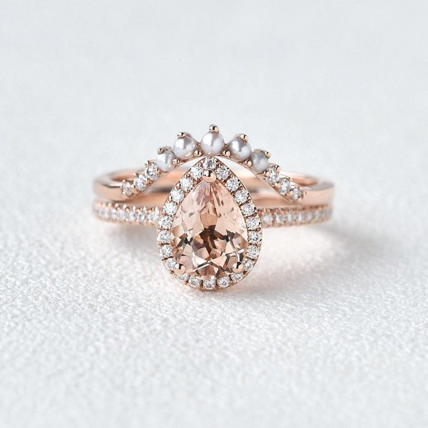 Pear Pink Morganite Halo Ring Set - Front - Style 1