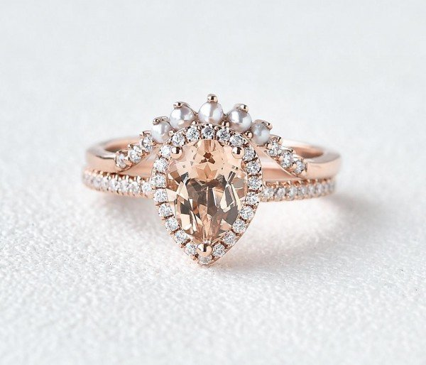Pear Pink Morganite Halo Ring Set - Front - Style 2