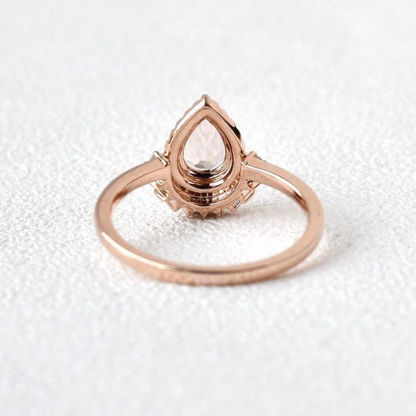 Pear Shaped Pink Morganite Vintage Halo Ring - Back