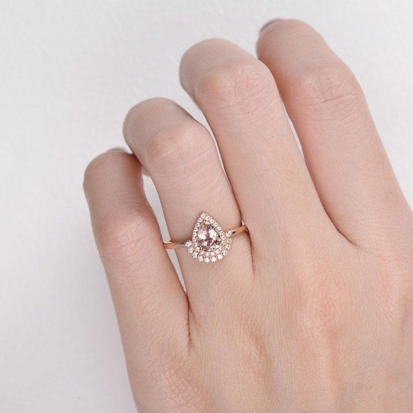Pear Shaped Pink Morganite Vintage Halo Ring - Finger