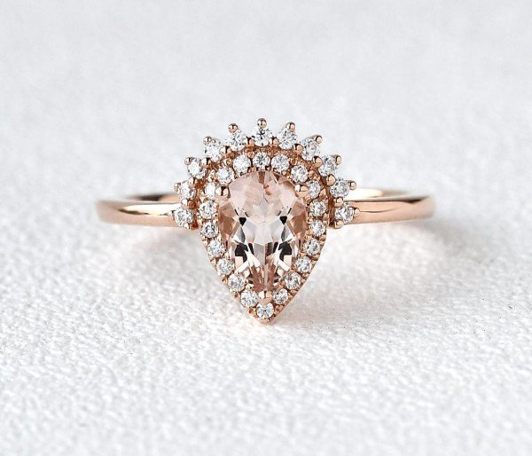Pear Shaped Pink Morganite Vintage Halo Ring - Front