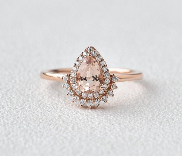 Pear Shaped Pink Morganite Vintage Halo Ring - Front
