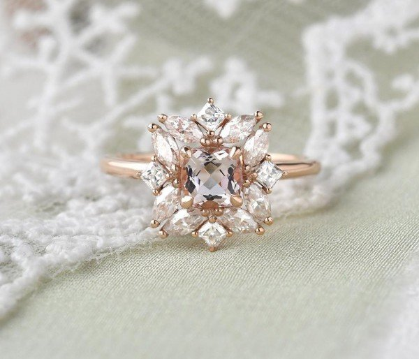Cushion Cut Pink Morganite Vintage Halo Ring - Front